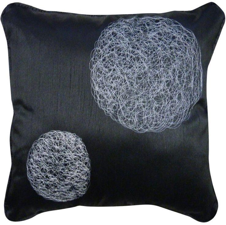 HomeMaison HM69890797 poduszka z odcieniami z różnymi okrągłymi haftami, czarna