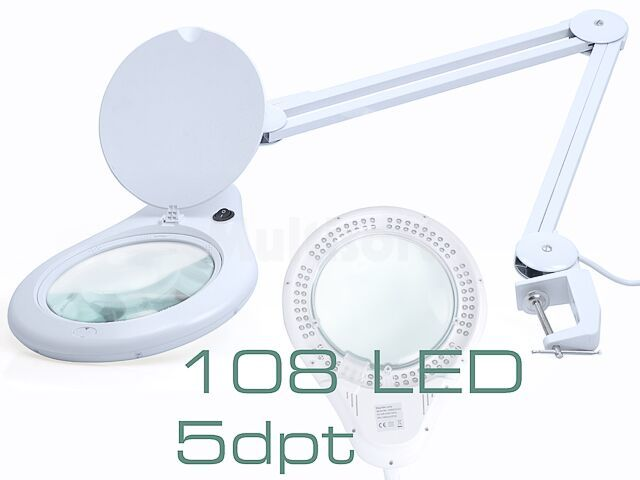 Lupa stołowa 5 dioptrii fi177mm podświetlana 108 LED