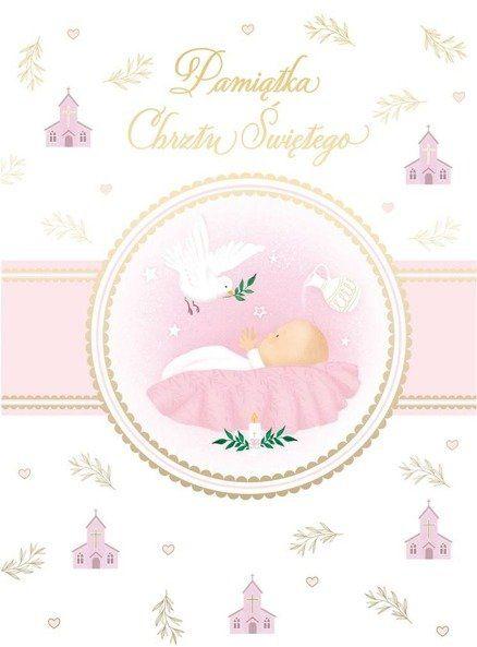 Karnet B6 Chrzest z kieszonką - różowy
