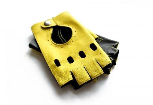 Damskie rękawiczki skórzane bez palców - czarno-żółte