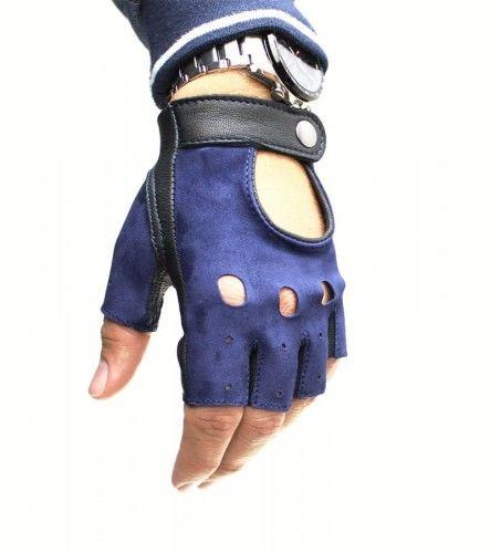 Męskie skórzane rękawiczki bez palców - czarno-granatowe