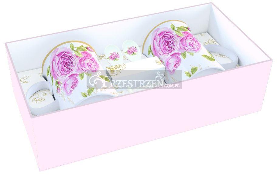2 PORCELANOWE KUBKI Z ŁYŻECZKAMI - DELICATE ROSES - Róże (314 CATE)