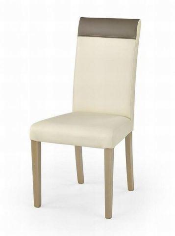 Krzesło NORBERT kremowe beżowe skórzane na nogach dąb sonoma  KUP TERAZ - OTRZYMAJ RABAT