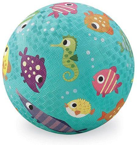 Bertoy 382156-3 gumowa piłka do zabawy, ryby, duża, średnica 18 cm