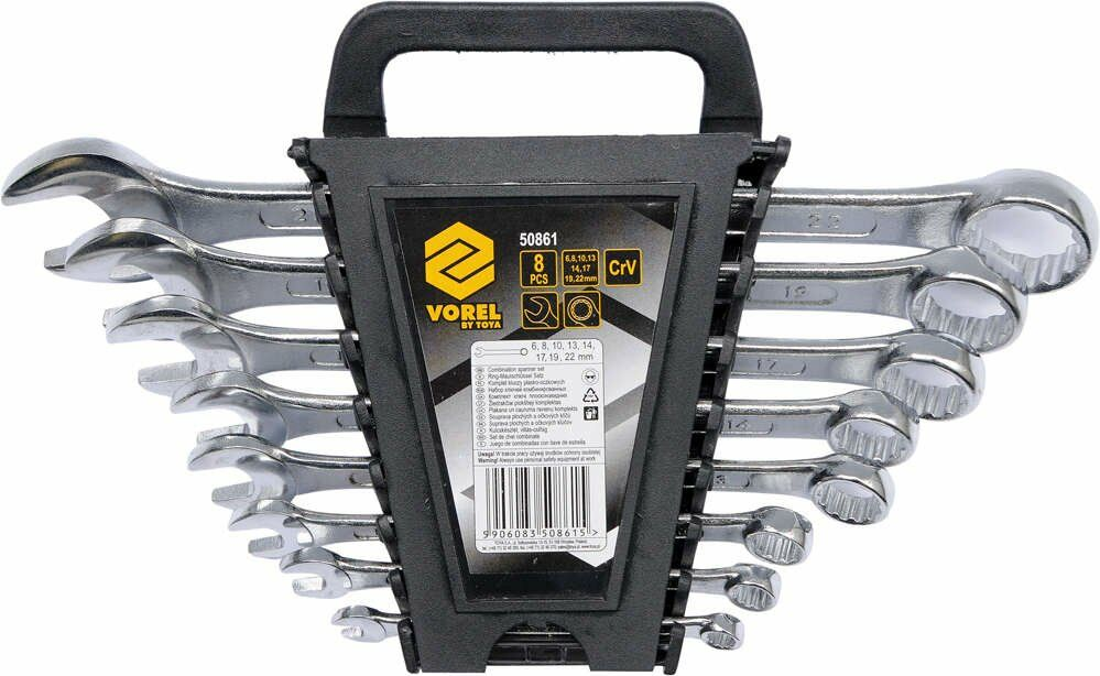 Klucze płasko-oczkowe 6 -22 mm, c.v. kpl 8 szt. Vorel 50861 - ZYSKAJ RABAT 30 ZŁ