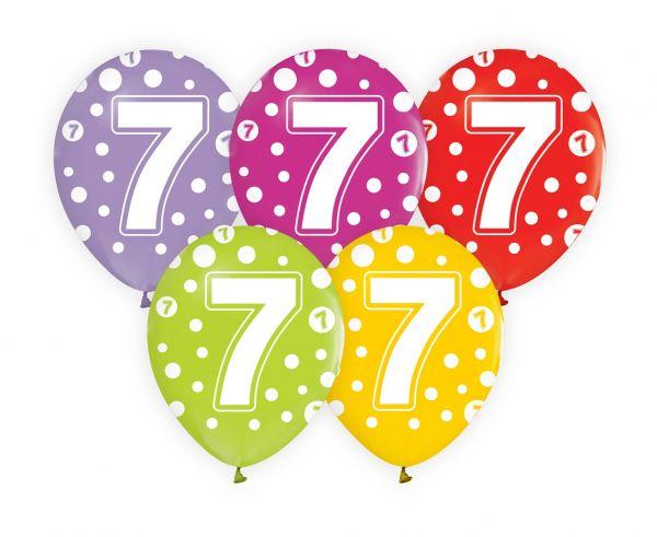 Balony z cyfrą 7 na siódme urodziny 5 sztuk GZ-CYF7