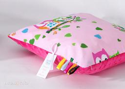 MAMO-TATO Poduszka Minky dwustronna 30x40 Sówki różowe / fuksja