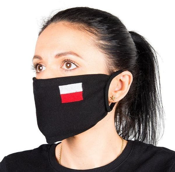 Maseczka bawełniana na twarz Flaga czarna 1 szt 608886