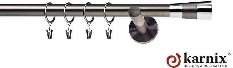 Karnisze nowoczesne NEO pojedynczy 19mm Doris antracyt