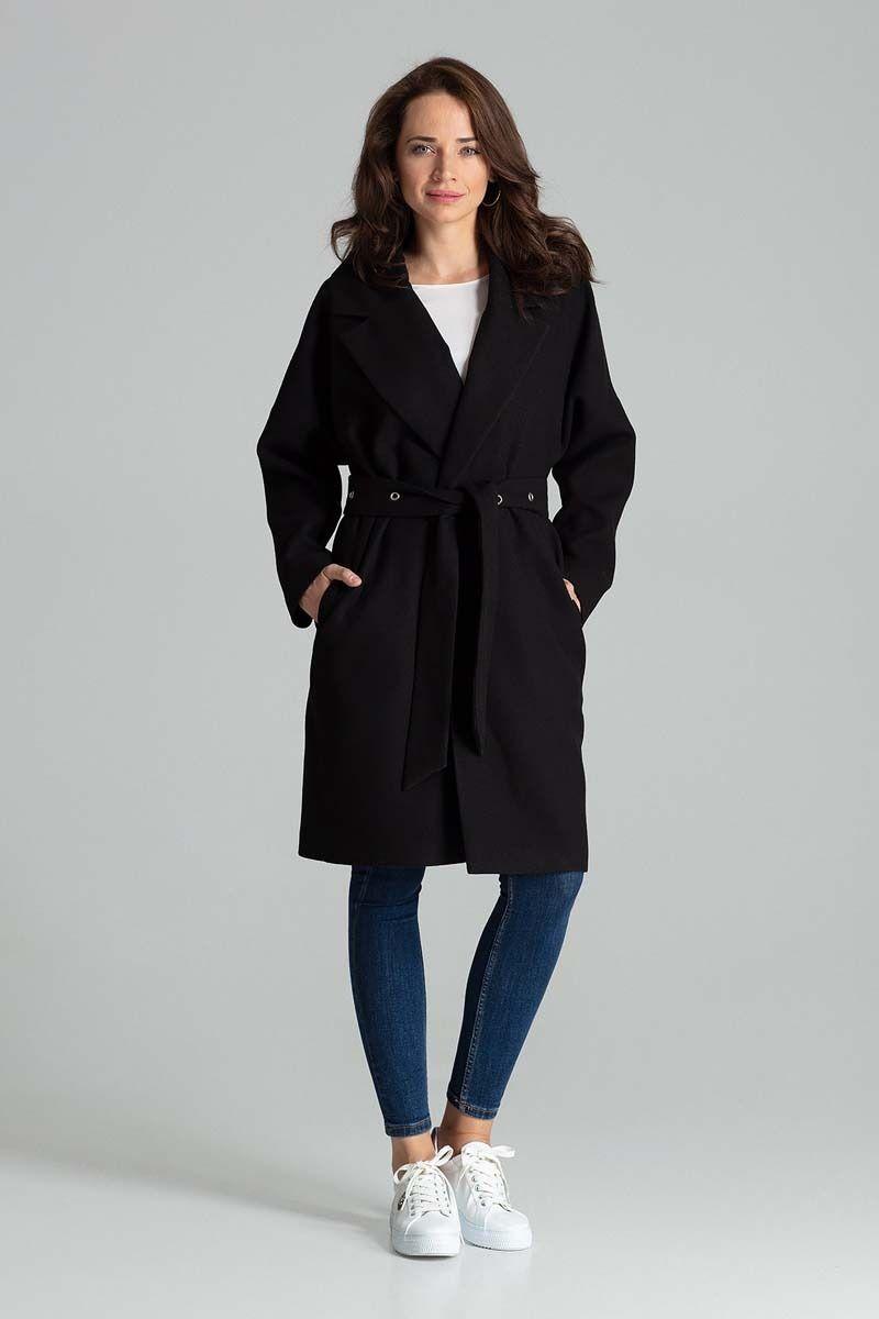 Czarny niezapinany prosty płaszcz z paskiem