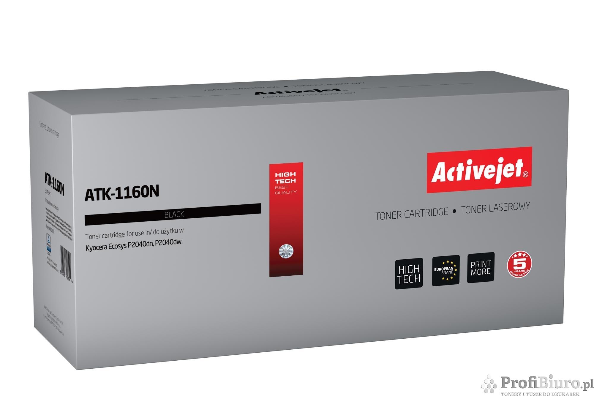 Toner Activejet ATK-1160N (zamiennik Kyocera TK-1160; Supreme; 7 200 stron; czarny)