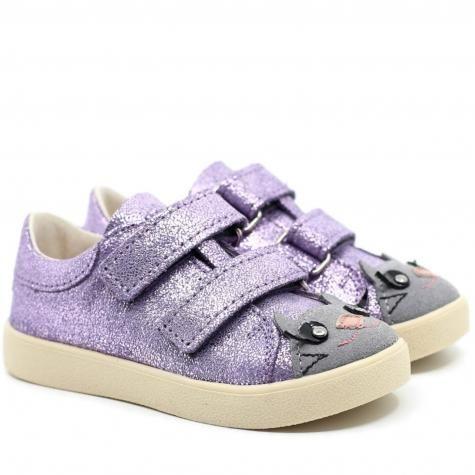 MRUGAŁA Maki Kitty Lavender 3180/3280-1-50 trzewiki TRAMPKI półbuty dziecięce - wrzosowe z królikiem