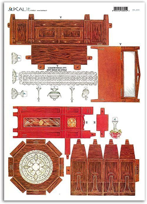 Accademia del Decoupage 32 x 45 cm zegar wahadłowy dom dla lalek meble papier ryżowy, wielokolorowy