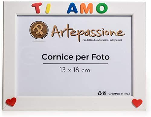 Artepassion drewniane ramki na zdjęcia z napisem ''I Love You'' i ozdobione sercami, białe, 13 x 18 cm
