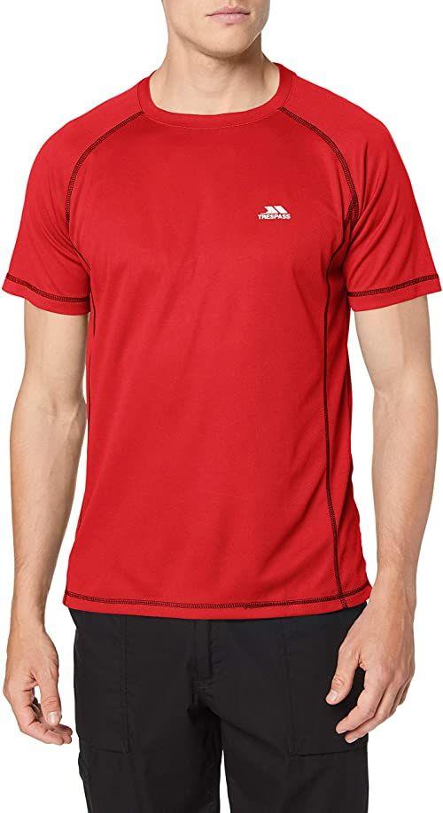 Trespass Albert szybkoschnący T-shirt męski z krótkimi rękawami Czerwony XL