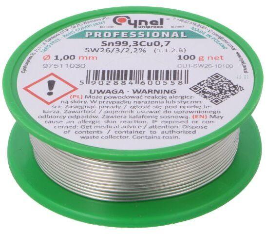 Drut lutowniczy Sn99,3Cu0,7 1mm 100g bezołowiowe 227 C 2,2%