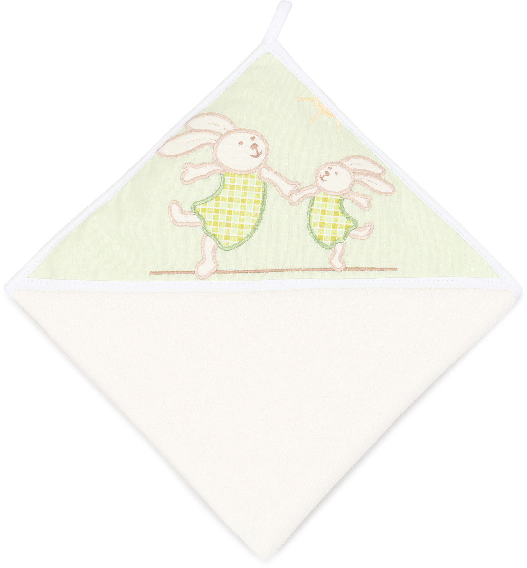 MAMO-TATO Okrycie Kąpielowe z haftem Wesołe zajączki w zieleni / ecru
