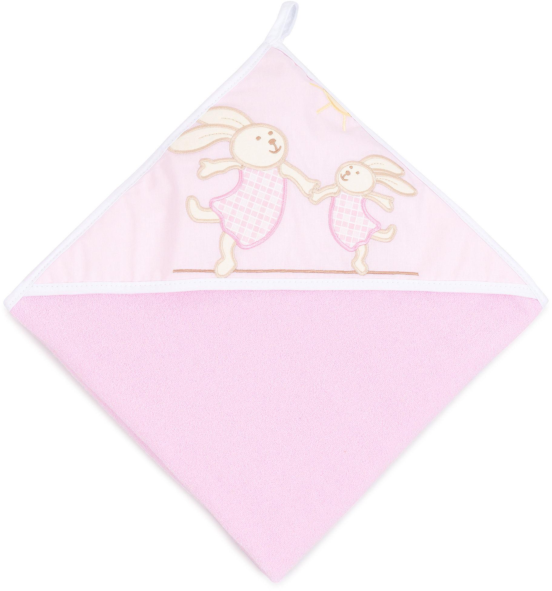 MAMO-TATO Okrycie Kąpielowe z haftem Wesołe zajączki w różu
