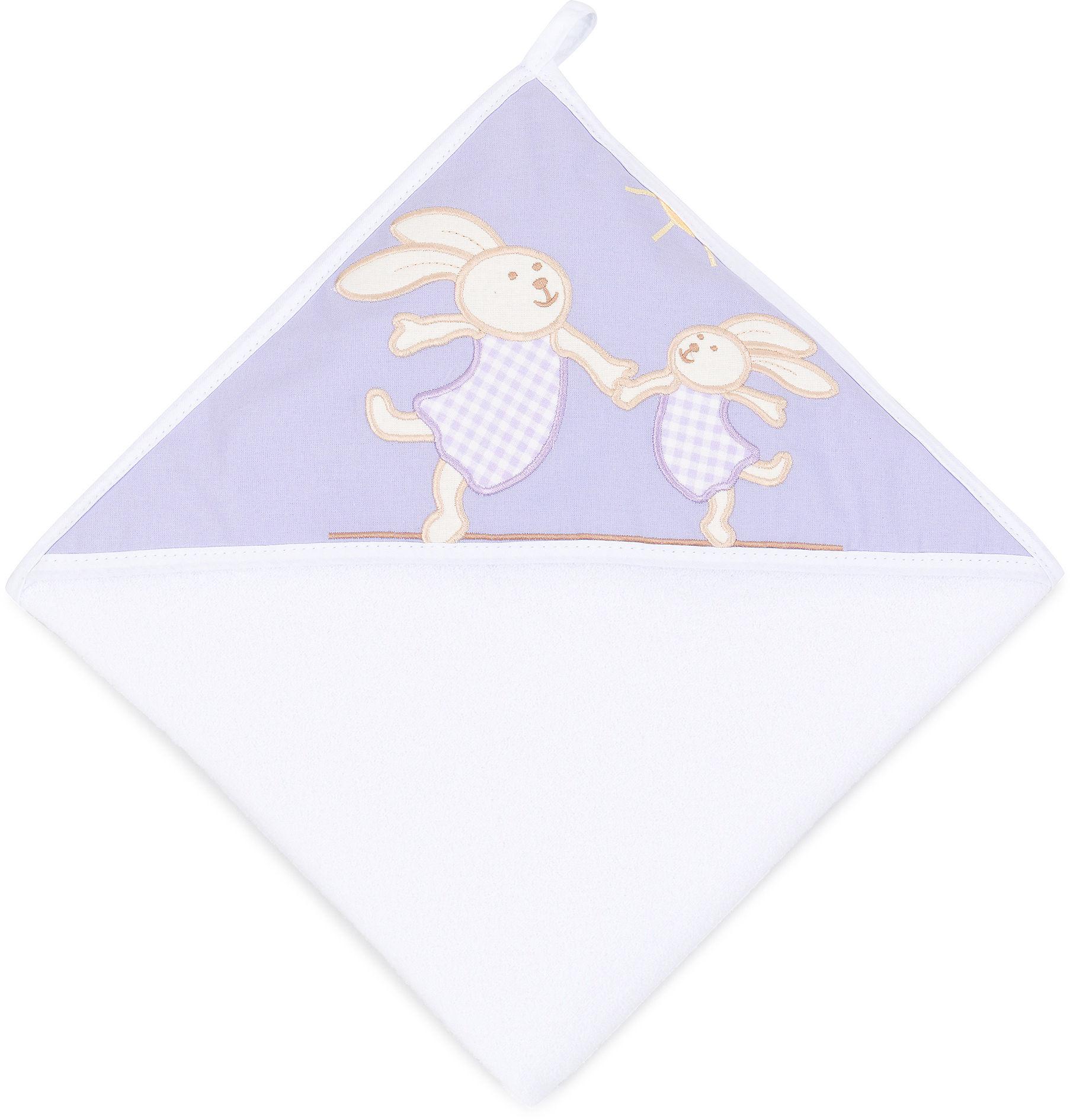 MAMO-TATO Okrycie Kąpielowe z haftem Wesołe zajączki lawendowe / biały