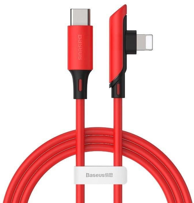 Kabel kątowy USB-C do Lightning Baseus Colourful, PD, 18W, 1.2m (czerwony)