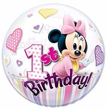 Qualatex 12862 Mickey & Friends pojedynczy bańka myszka Disney Minnie 1 urodziny lateksowy balon, 56 cm
