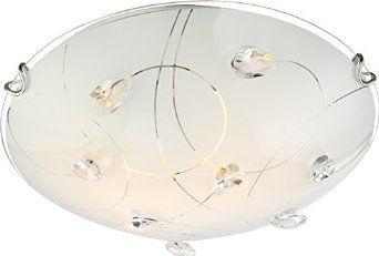 Globo plafon lampa sufitowa Alivia 40414-2 szkło opalizowane, kryształy K5 30cm