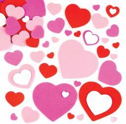 Baker Ross E392 samoprzylepne serca z pianki dla dzieci, do majsterkowania, na kartki na Walentynki i Dzień Matki (150 sztuk), sortowane, 150 sztuk