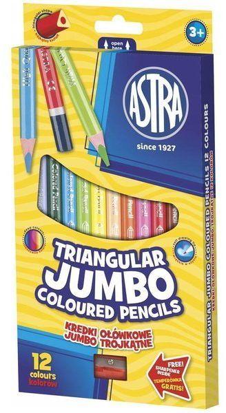 Kredki ołówkowe trójkątne Jumbo 12 kolorów ASTRA - ASTRA papiernicze