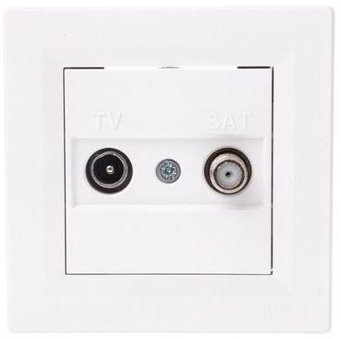 ASFORA Gniazdo antenowe TV-SAT przelotowe 4dB białe EPH3400221