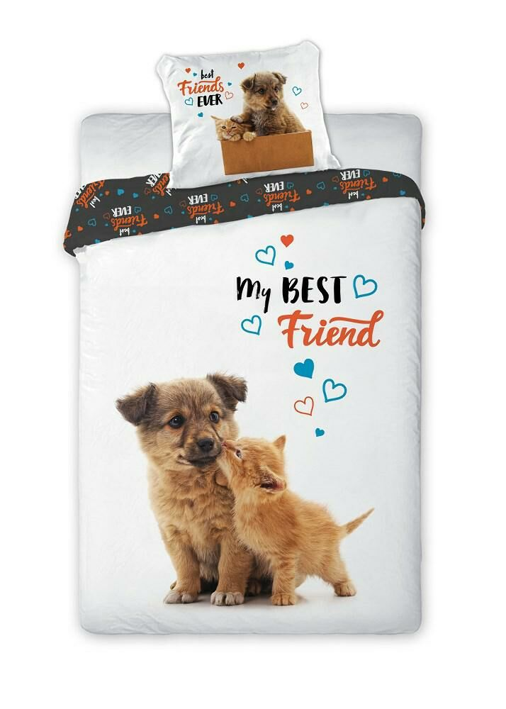 Pościel bawełniana 140x200 Kot pies My Best Friend 3170 Kotek i piesek biała grafitowa cat dog dwustronna młodzieżowa poszewka 70x90