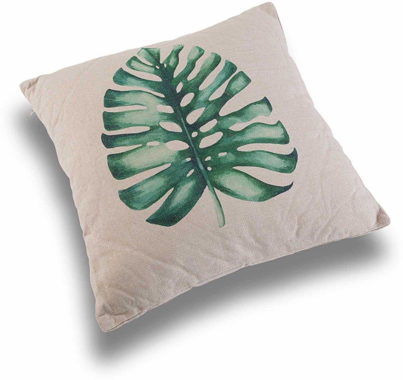 Versa 21350050 poduszka kwadratowa, poliester, zielona/biała, 45 x 15 x 45 cm