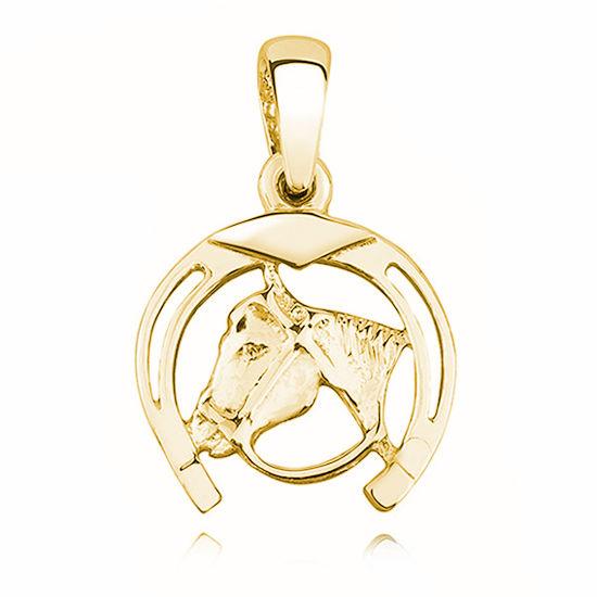Elegancki pozłacany srebrny wisior koń konik kucyk podkowa srebro 925 KS0137G