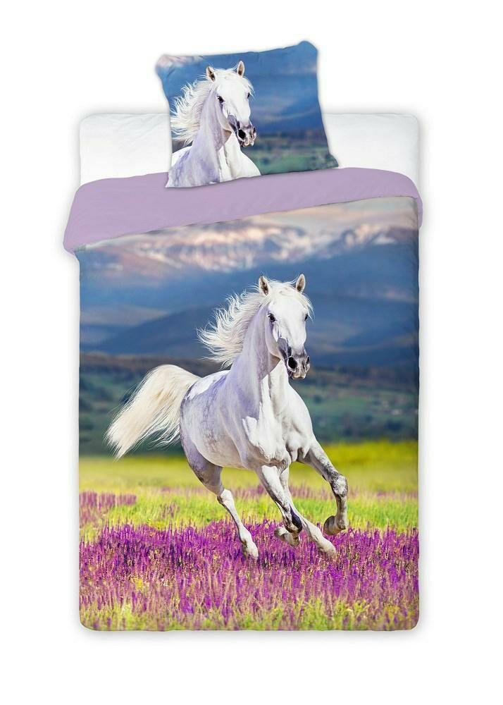 Pościel bawełniana 140x200 Wild Koń biały lawendowe pole 3156 konik dwustronna młodzieżowa poszewka 70x90