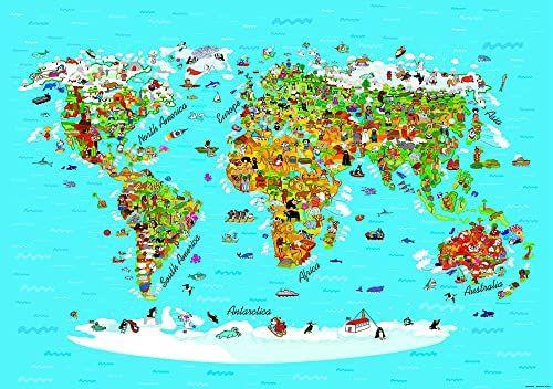AG Design FTS 1320 mapa świata dla dzieci, papierowa fototapeta - 360 x 254 cm - 4 części, papier, wielokolorowa, 0,1 x 360 x 254 cm