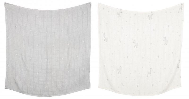 EFFIKI Otulacze bambusowe Małgosia Socha - Serca (szary), Sarenki (biały) 2 szt. 120x120 cm