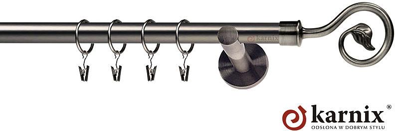 Karnisze nowoczesne NEO pojedynczy 19mm Spiralka antracyt