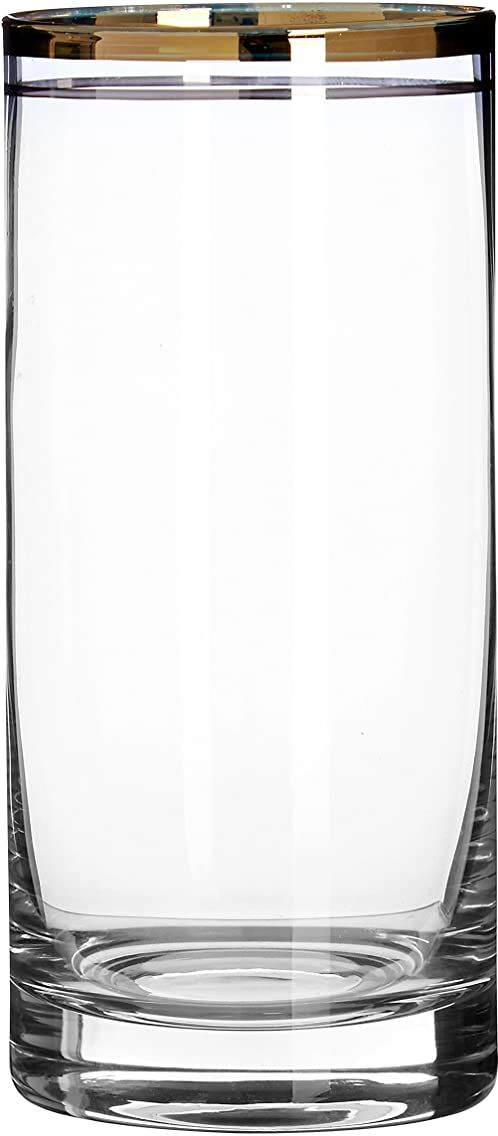 Premier Housewares Charleston okulary Highball, złoty, 7 x 7 x 15 cm, zestaw 4 szt.