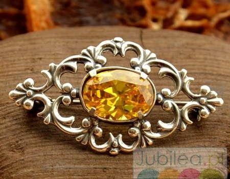 Xerta - srebrna broszka z cytrynem złocistym