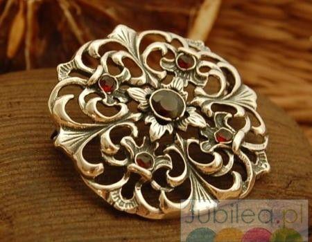 Oviedo - srebrna brosza z naturalnymi granatami