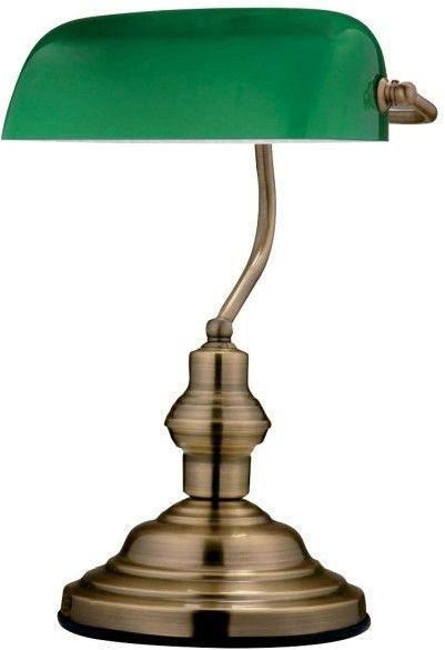 Lampka gabinetowa Antique 1 x 60 W E27 zielony klosz patyna