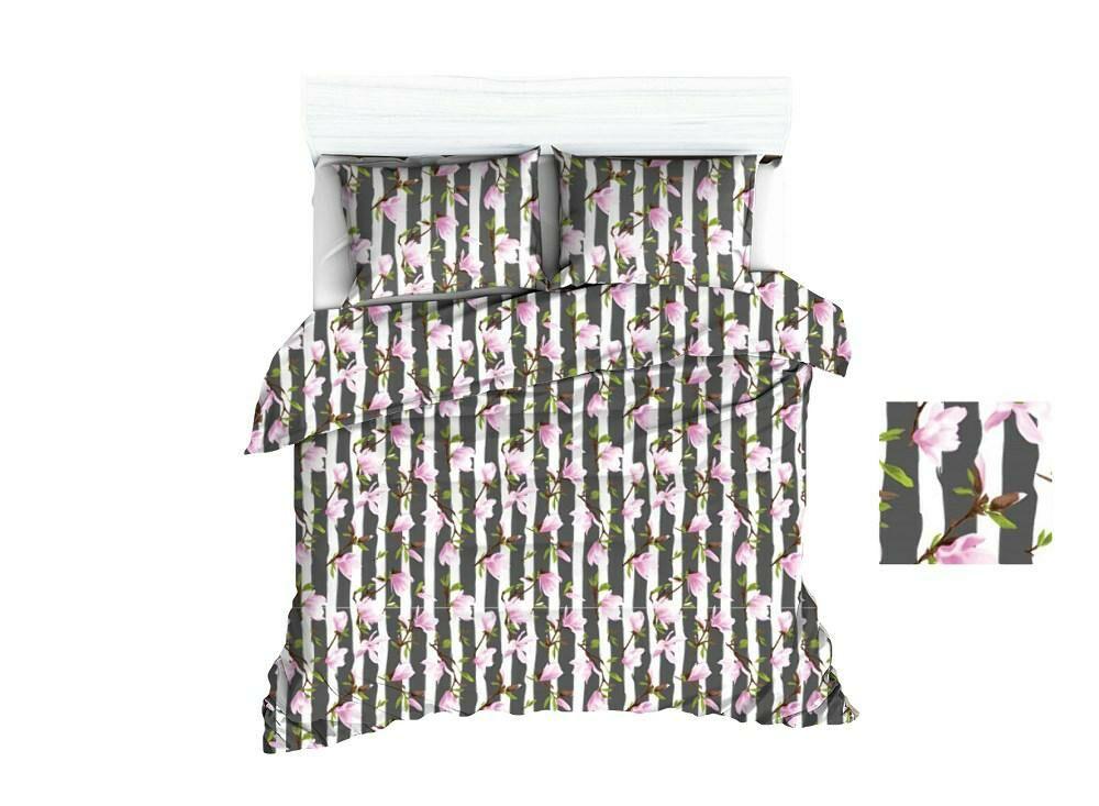 Pościel bawełniana 160x200 1632E grafitowa pasy białe kwiaty różowe 1104N