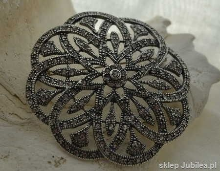 Balerina - srebrna brosza z kryształami
