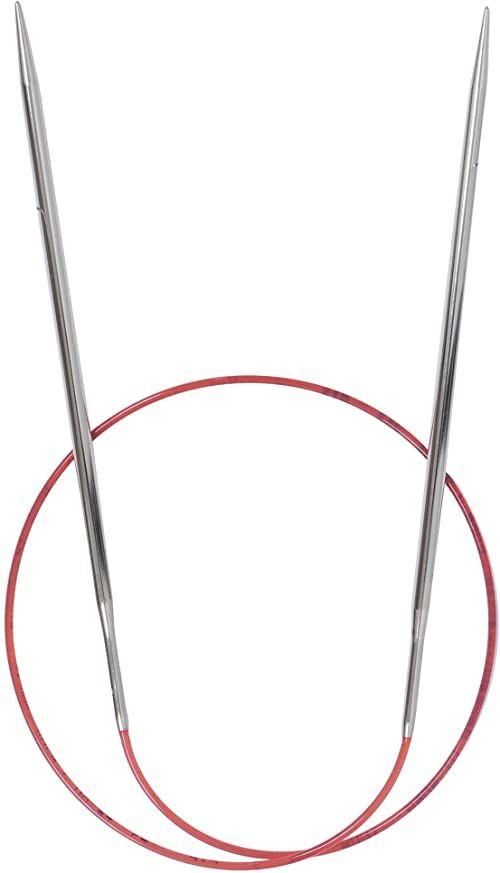 Addi Ad7757060-3.50 Dlugie Okragle Igly Do Robienia Na Drutach, 60 cm Dlugosc x 3,50 mm Grubosc, Srebrny/Czerwony