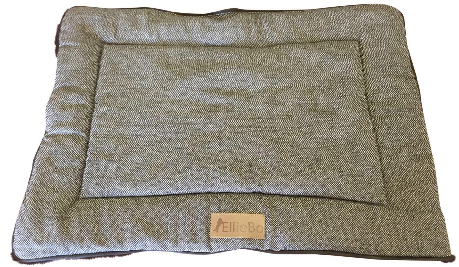 Ellie-Bo Dwustronna tweed i brązowa mata ze sztucznego futra łóżko dla średnich 76 cm klatek i skrzynek dla psa szczeniaka