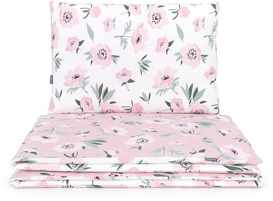 MAMO-TATO Komplet pościeli 140x200 - Premium - Kwiaty na ecru / kwiaty na różanym