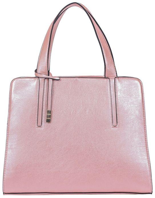 Różowa torebka kuferek metaliczna Evie