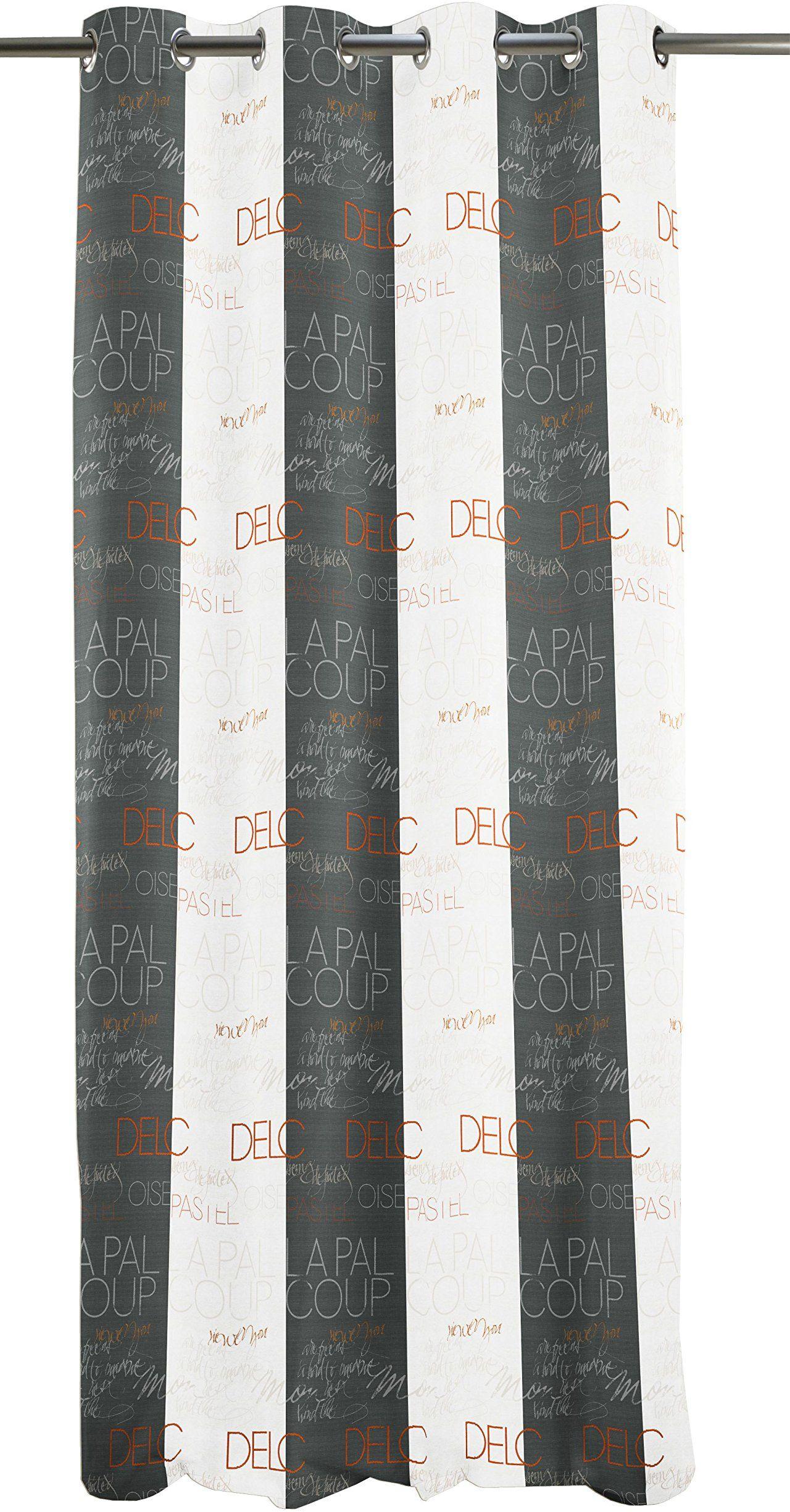 Apelt zasłona z oczkami, poliester, szara/pomarańczowa, 140 x 245 x 0,5 cm