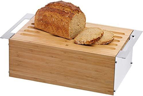 WMF Gourmet chlebak 43 x 25 x 15 cm, bambusowy, pojemnik na chleb, ze zdejmowaną deską do krojenia