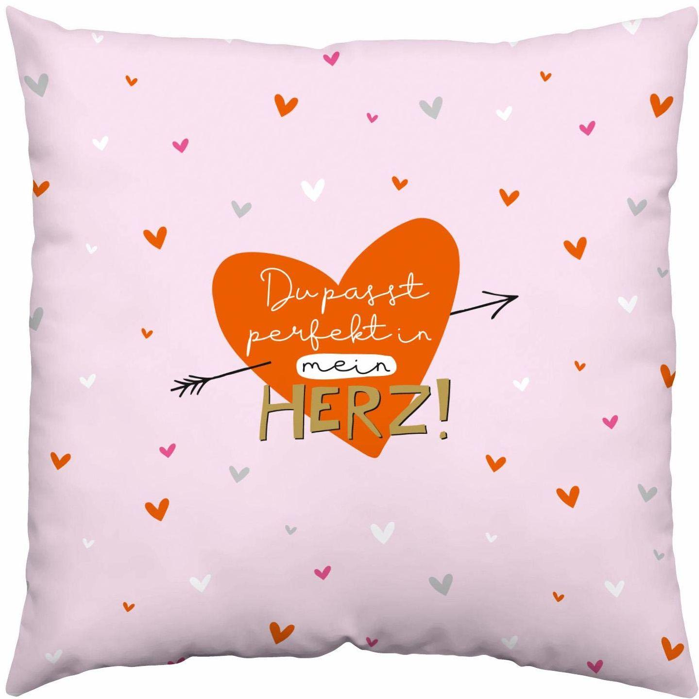 H:)PPY life 46727 poduszka bawełniana Ty idealnie pasuje do mojego serca, 40 cm x 40 cm