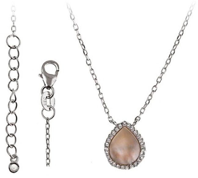 Srebrny naszyjnik 925 z masą perłową 3,1g